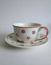 Large Whittard Handpainted Hearts Cup and Saucer - Blue & Red