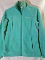 Women's Columbia Full Zip Fleece Jacket Size Small Teal Green Pockets EXCELLENT