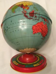 J. Chein & Co. 1950s Old World Globe Tin Litho Vintage Spinning Stand Toys