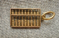 Vintage 14K yellow gold Abacus CHARM -  Tiny Beads Move & Slide along Wires 2.2g