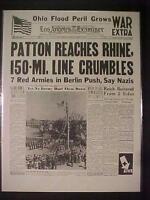 VINTAGE NEWSPAPER HEADLINE~WORLD WAR 2 PATTON ARMY AT NAZI RHINE RIVER WWII 1945