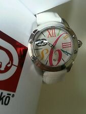 Rhino by Marc Ecko Pink Teal multicolored WHITE Leather band Watch NEW WITH TAG