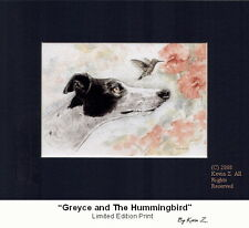 Greyhound Black White Greyce & Hummingbird Signed Art Print  Kevin Z Arttogo