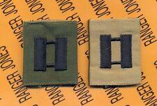 US ARMY Captain CPT 0-3 OD Green & Black & Desert Reversable slip on rank patch
