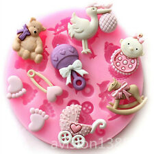 Baby Shower Silicone Fondant Cake Mould Mold Chocolate Baking Sugarcraft Decor