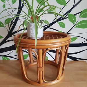 Vintage Mid Century Coffee Table Bamboo Wicker Cane Rattan Plant Stand Round