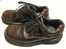 Women's DR DOC MARTENS Brown Leather Work Ankle Boots 8 Eyelets Size US 7 UK 5