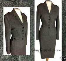 61 NEXT 10 Grey 40s 50s Style Tweed Wool Pencil Skirt Suit Military ladies eu 38
