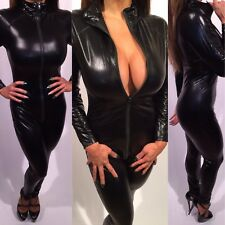 Connie's Stretch Black Wet Look Jumpsuit With Front to Back Zip Closure  L