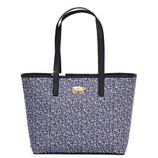 MICHAEL KORS Travel TOTE Navy BLUE Floral PURSE Leather Trim SMALL Gold NWT $228