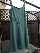John Rocha Linen Dress Size 16-18 Petite Linen Sea Green Lined Smart Summer