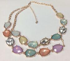 Gartenwicke Statement Halskette Pastell Kristall Kupfer Rosegold