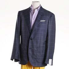 NWT $2195 LUCIANO BARBERA Blue Check Unstructured Wool-Silk Sport Coat US 46 R