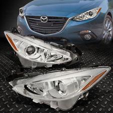 For 14 17 Mazda 3 Pair Chrome Housing Amber Corner Projector Headlight Head Lamp Fits Mazda 3