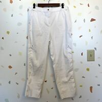 Chicos SZ 2 US Large White Cargo Pocket Stretch Waist Crop Ankle Casual Pants