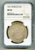 1921 Morgan Silver Dollar NGC MS 65