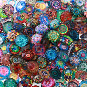 200Pcs 10mm Mixed Round Mosaic Tiles Crafts Glass Mosaic for DIY Jewelry Making