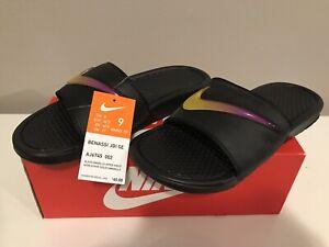 Brand New Benassi JDI SE Sandal Black/Yellow/Pink Men 9 WMNS 10