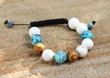 Howlite gemstone floral blue ceramic wood Macrame beaded Bracelet handmade new