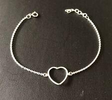 Genuine 925 Sterling Silver Solid Open Heart Chain Bracelet Women Girls Children
