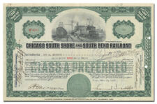 Chicago South Shore & South Bend Rr Stock Certificate Signed by Samuel Insull Jr