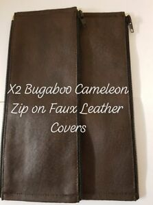 x2 Bugaboo Cameleon 1,2 3 Faux Leather Zip On Handlebar Covers/Brown Color