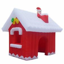 Inflatable Christmas Santa Claus House with Air Blower for Yard Home Decoration
