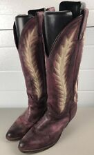 Abilene Burgundy Leather Cowboy Western Embroidered Tall Boots Women's Size 6 M