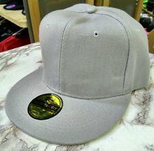New Hot Grey FLAT Peak SNAPBACK Plain Blank Cap Dancer Hat Chapeau #flat #cap