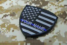 "CUSTOM NAME TEXT THIN BLUE LINE USA FLAG POLICE SEW ON PATCH 3 X 3"" P139"
