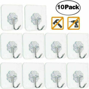10PC Wall Hooks Strong Transparent Suction Cup Sucker Hanger Kitchen Bathroom