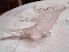 """Beautiful  Vintage Crystal """"Cornucopia"""" HORN OF PLENTY Vase--FREE POSTAGE USA"""