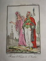 Gravure COSTUME COULEUR MAURE ARABE AFRIQUE ORIENTALISTE ARABIE VOYAGE 1804
