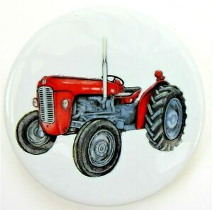 CERAMIC COASTER DOUBLE-SIDED WITH RED TRACTOR MOTIF