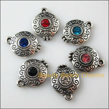 6 New Charms Glass Crystal Mixed Round Tibetan Silver Pendants 14x18.5mm