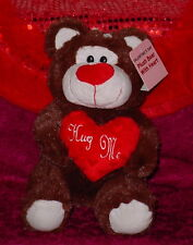 BROWN BEAR WITH RED ROSE * BIG EYES  * CUTE * 10 INCH *