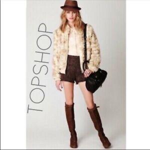Topshop Womens 4 High Rise Waist Wine Berry Tweed Dress Shorts Small