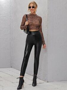 Sexy Lack PU Leder Skinny Leggings mit breitem Taillenband Schwarz Größe L