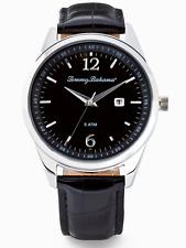 TOMMY BAHAMA Siesta Key Men's Silver Watch Black Dial Leather Strap TB00015-01