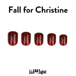 Red Aspen Reusable Nail Dashes, 24 Pop On Short Square Shiny, Fall For Christine