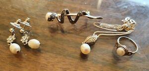 Vintage Sterling Silver Pearl Jewellery- marcasite brooch, earrings, necklace