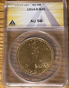 1914-D $20 Saint St Gaudens Gold Double Eagle ANACS AU-58