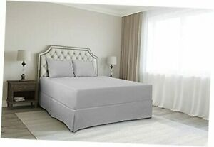 Bed Skirt King Size 100% Organic Cotton King 76x80 - 12 Inch Drop Silver Grey