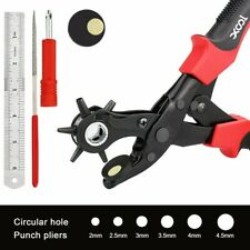 6 Size Punch Tool Leather Hole Pliers Heavy Duty Revolving Belt Hole Puncher Kit