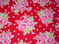 Cottage Shabby Chic Valentine Rose Cotton Fabric Falling Roses & Hearts BTY