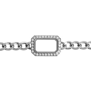 ORIGAMI OWL Silver Chain Link  Charm Bracelet with Crystals