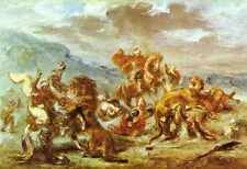 Metal Sign Eugene Delacroix Lion Hunt A4 12x8 Aluminium