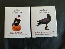 Hallmark 2019 Tiny Black Cat Stately Little Raven Halloween Miniature Ornaments