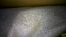 superbe tissu skai ou simili haut de gamme rigide col ecru/gris fleurs