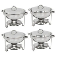 4 Pack Round Chafing Dish 5 Quart Stainless Steel Full Size Tray Buffet Catering